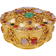 """Magnificent Antique Jeweled Bronze Casket Hinged Box""""Striped Agate, Moonstone, Carnelian, Blood Stones etc"""""""