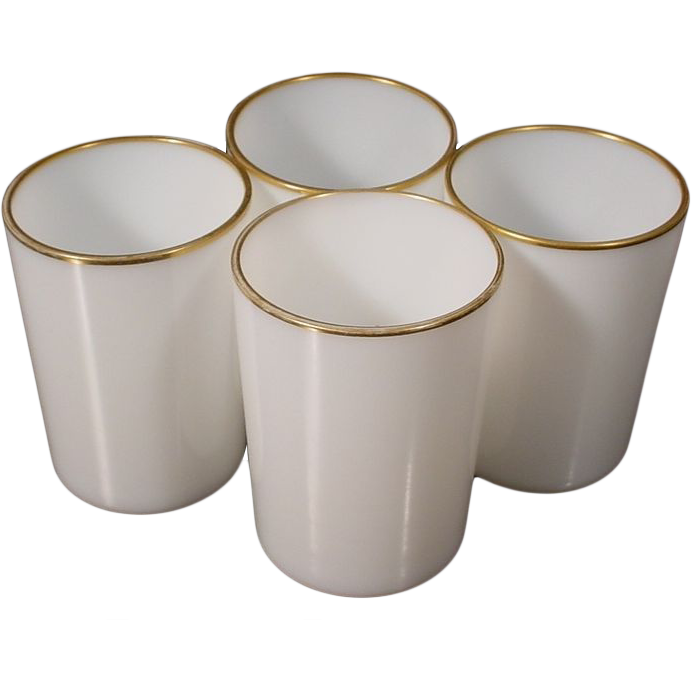 "Antique French White Opaline Wine Cups ""FOUR WINE CUPS"""