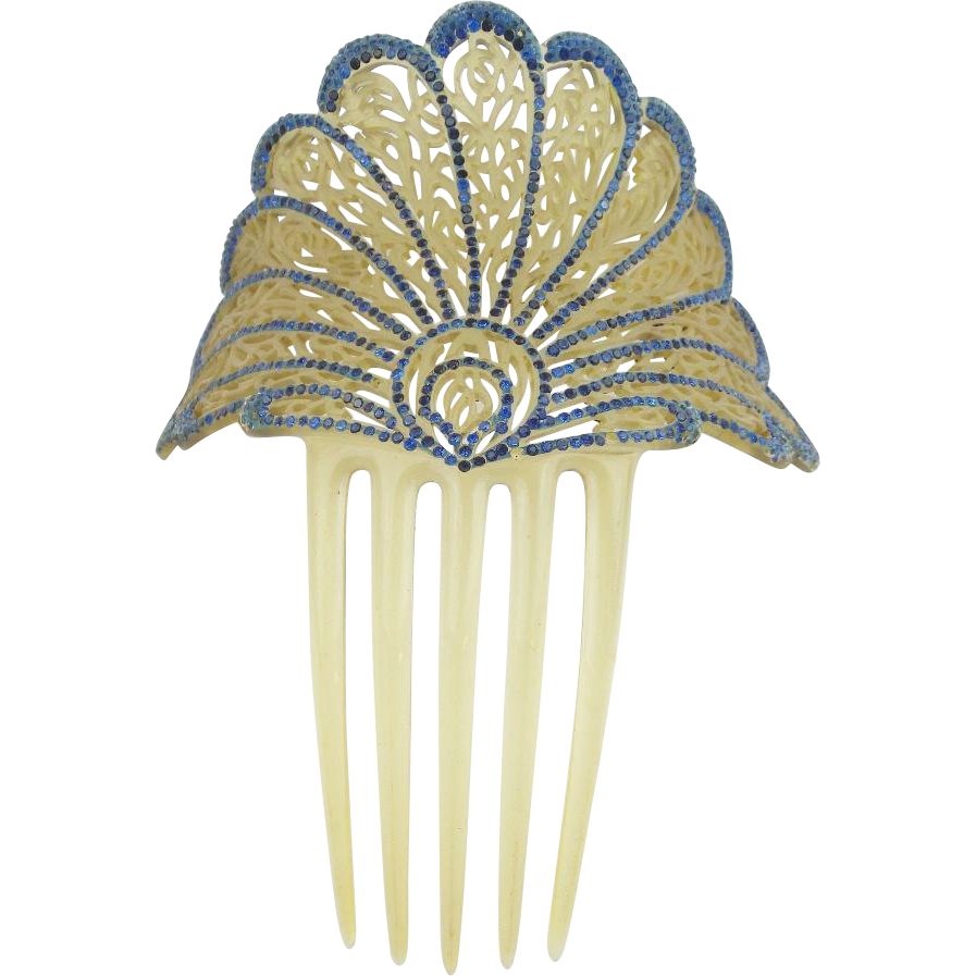 "Jeweled Celluloid Hair Comb "" BIG & EXQUISITE"""