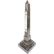 "14"" Grand Tour Marble Obelisk Thermometer Marked ""Negrett & Zambra London"""
