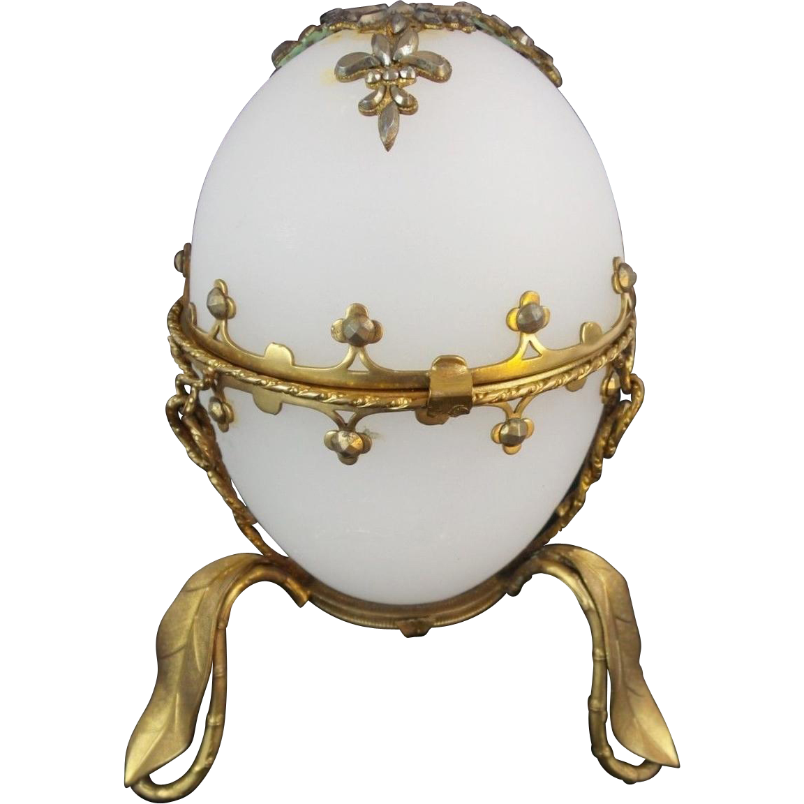 "Palais Royal White Opaline Hinged Box""  CUT STEEL GEMS"""