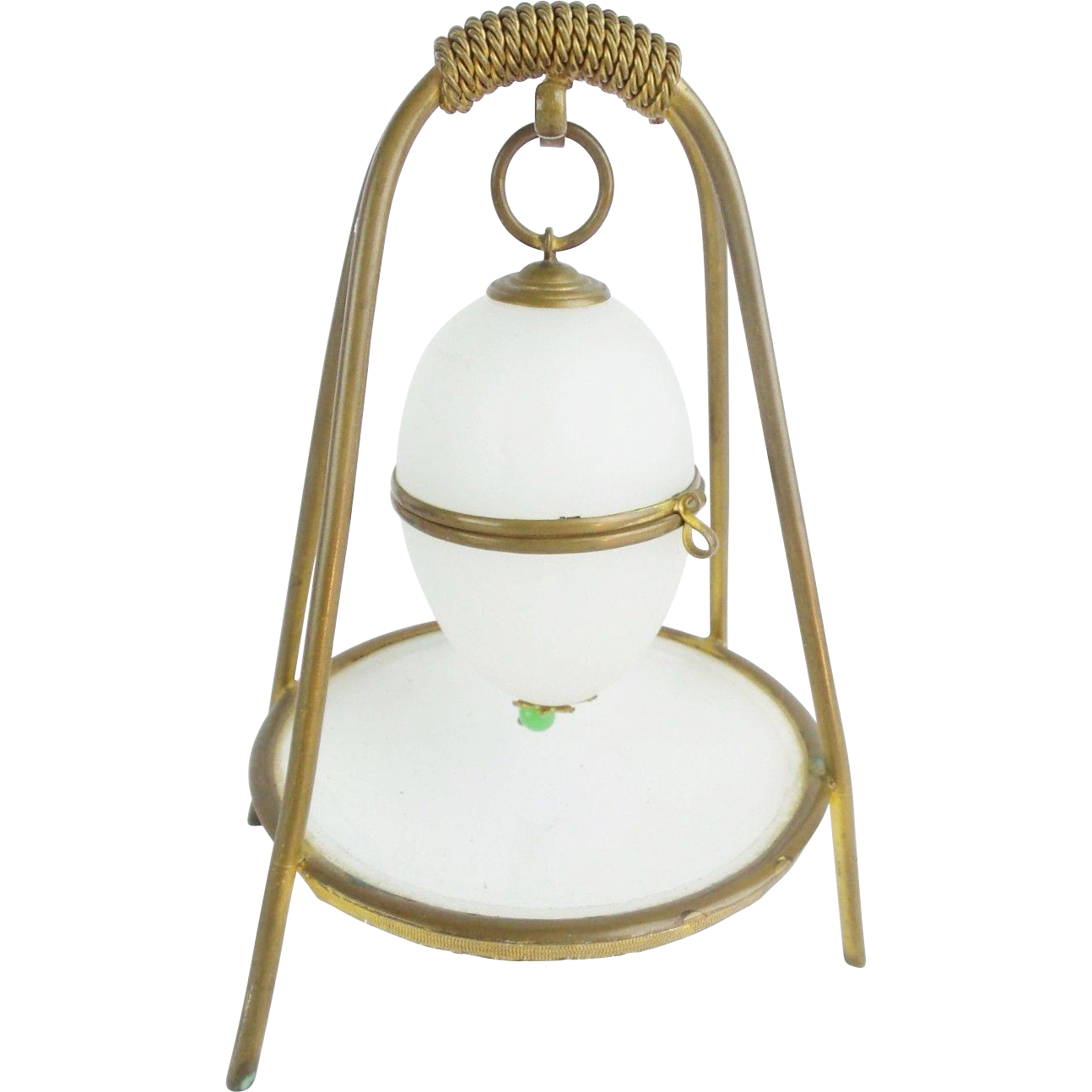 "Palais Royal White Opaline Casket  Hinged Box ""RARE STAND"""