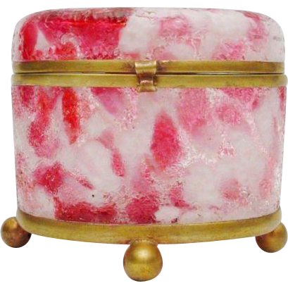 "Antique Bohemian Cranberry Crackle Glass Oval Casket Hinged Box ""FOOTED BALL BASE"""