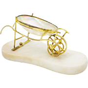 Palais Royal Mother of Pearl Wheel Barrow Cart.