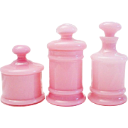 "LAYAWAY Antique French Pink Opaline Vanity Set ""THREE PIECES"""