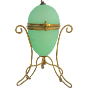 "Palais Royal Green Opaline ""EGG"" Hinged Box"