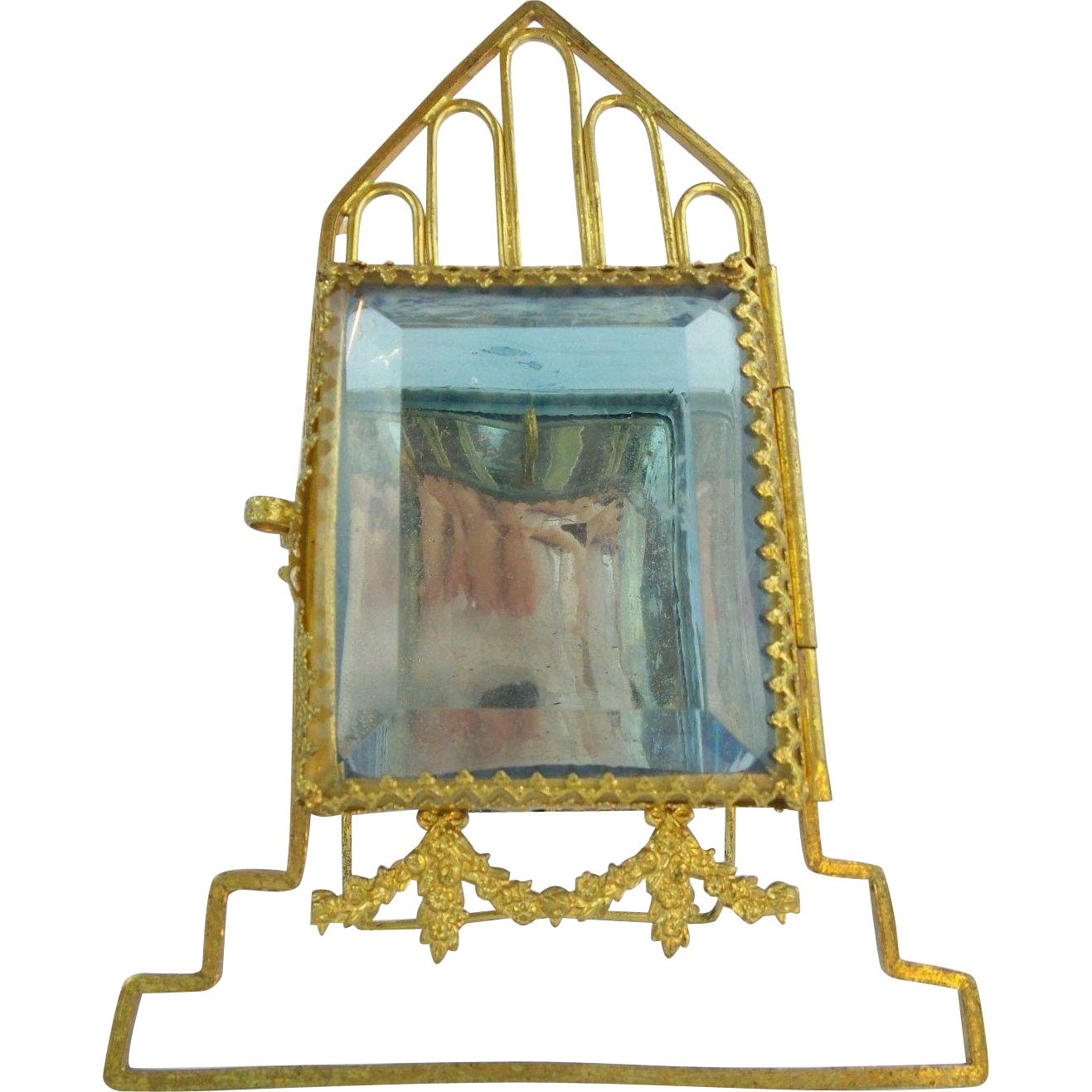 "Antique French  Watch holder""BLUE GLASS HOUSE"""