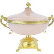 "LAYAWAY. Antique French Pink Opaline Double Handle Center Bowl ""PAW FEET & STUNNING SIZE"""