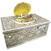"""Antique Jeweled Silver Bird Box""""EMERALDS,RUBIES, SAPPHIRES, & PEARLS"""""""