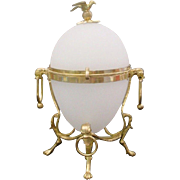 "10""Antique French White Opaline Casket Hinged Box ""BIG BRONZE BIRD FINIAL"""