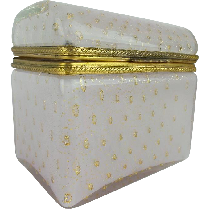 "Vintage Murano Dome Top Case Glass Casket Hinged Box  ""LUSCIOUS PINK & DUSTED WITH GOLD"""