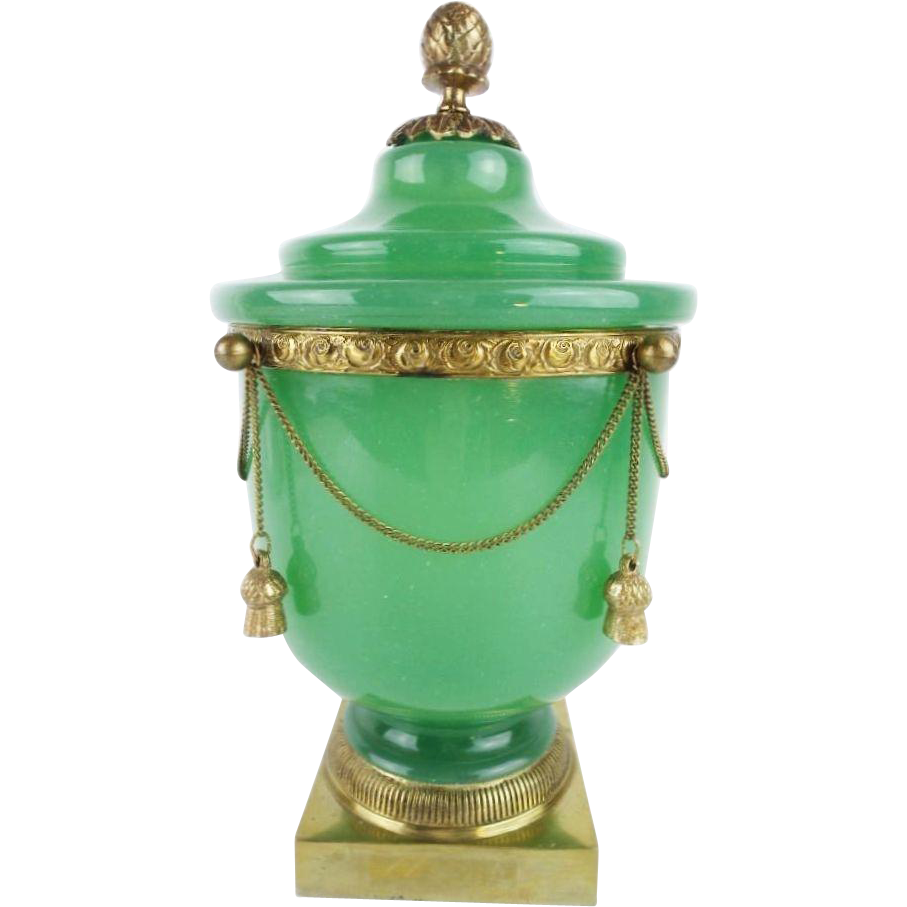 "10 ½"" Antique French Green Opaline Covered Cachepot "" DRIPPING IN GILT CHAINS & TASSELS"" GRANDEST"