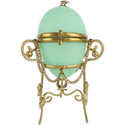 LAYAWAY Palais Royal Green Opaline Egg Casket Hinged Box