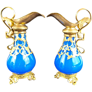 "PAIR Antique French Blue Scent Ewers ""EXQUISITE PALAIS ROYAL TREASURES"""