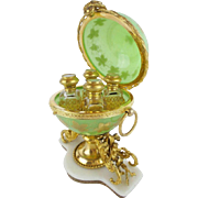"1860 French  Opaline Double Handle Scent Casket ""FOUR BOTTLES &  MERMAIDS STAND"" AWESOME GREEN OPALINE"