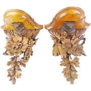 """Victorian Black Forest Style Carved Wood Wall Brackets """" EXQUISITE PAIR"""" - Red Tag Sale Item"""