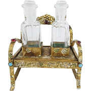 "Antique Austrian Jeweled ""SETTEE"" Enamel Perfume Set  'TWIN PERFUMES"""