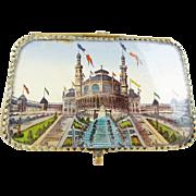 """Antique French Miniature Eglomise Souvenir Scent Vanity 'TWIN BOTTLES"""""""