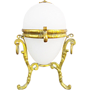 Napoleon III White Opaline Egg Shaped Hinge Box