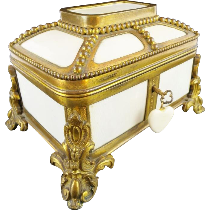 "Antique French Dome Top Bronze & Faux Ivory Casket Hinged Box"" 12 CELLULOID PLAQUES"""