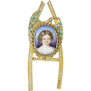 "Antique French Miniature Porcelain ""LITTLE GIRL"" Jeweled Table Frame"