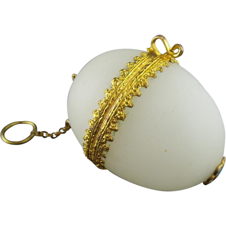 Palais Royal White Opaline Chatelaine Egg Box.