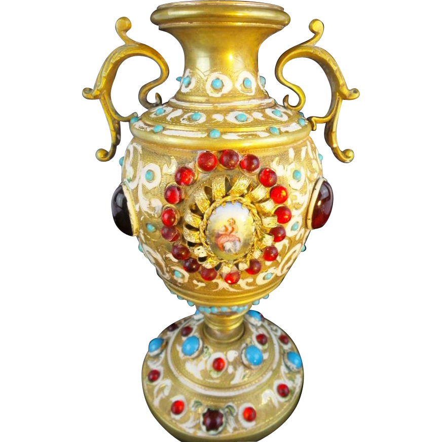 "Antique Austrian Bronze Jeweled  Enamel Urn Vase ""PORCELAIN PLAQUES W PASTORAL SCENES"""