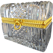 "Antique French Cut Crystal Dome Top Casket Hinged Box ""WREATH & BOW CLASP"""