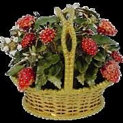 "Jane Hutcheson Jeweled Strawberry Basket ""RARE SMALL SIZE"""