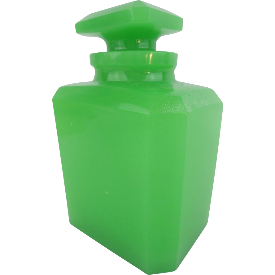 "BIG  Antique Green Opaline Scent Bottle ""EXQUISITE"" AWESOME GREEN"