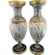 """PAIR  12 ½""""  Antique French Crystal Dore Bronze Mounts Vases """"REGAL AND VERY FINE"""""""