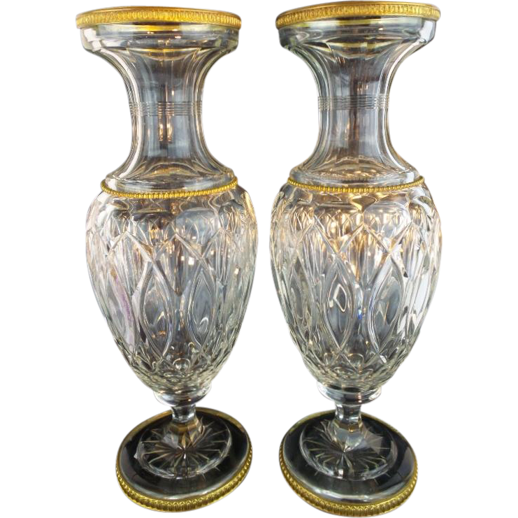 "PAIR  12 ½""  Antique French Crystal Dore Bronze Mounts Vases ""REGAL AND VERY FINE"""
