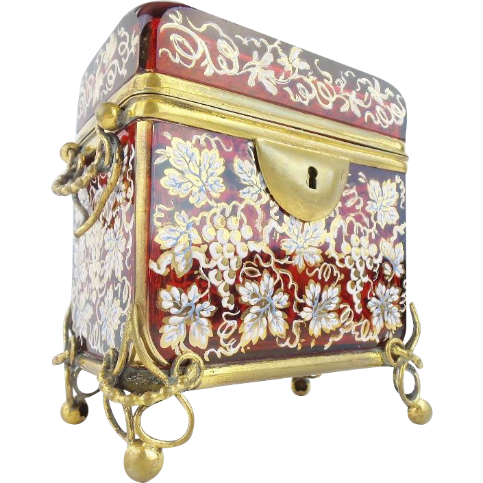 """Antique Moser  Sugar Casket  with Double Handle """" MAGNIFICENT HAND ENAMEL RUBY GLASS"""""""