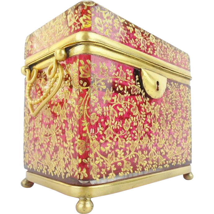 "Antique Moser Cranberry Double Handle Sugar Casket ""MAGNIFICENT GILDING"""