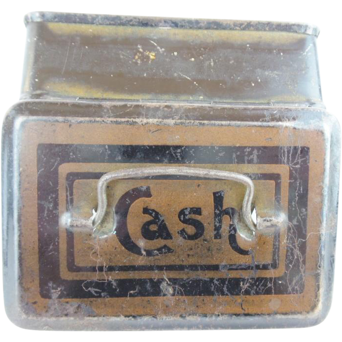 "Antique English Miniature ""CASH"" Box with a Handle"