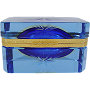 Italian Murano Blue Crystal Hinged Box