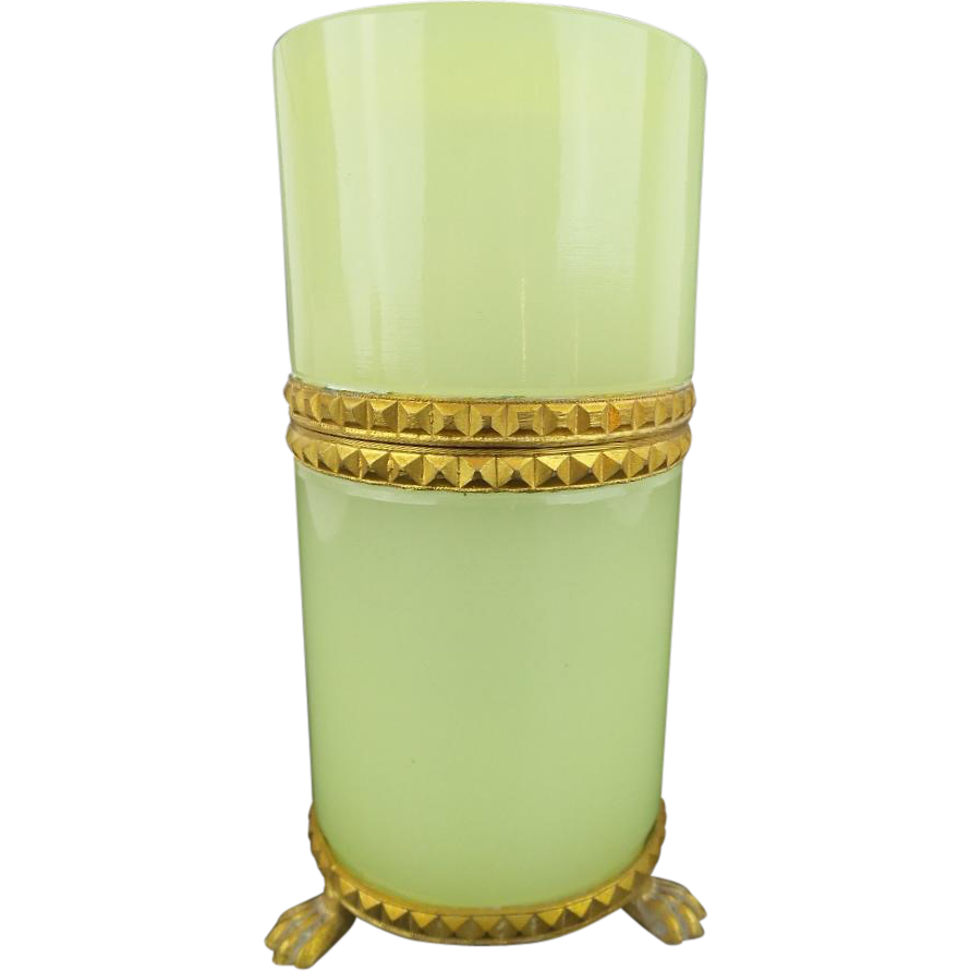 """Antique French Green Opaline Tall Paw Foot Hinged Box YUMMY LEMON GREEN"""""""