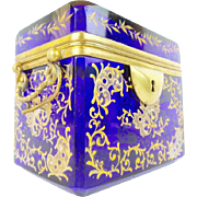 "Antique Cobalt Moser Double Handle Casket"" GRANDEST GILDING"""