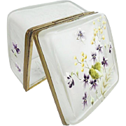 """BIG Antique French Satin Glass Hinged Box """"GLORIOUS FLOWER"""""""