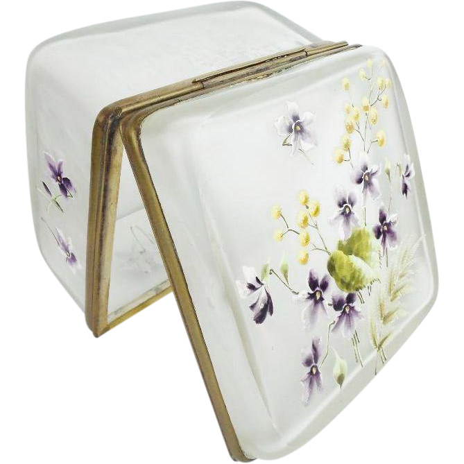 "BIG Antique French Satin Glass Hinged Box ""GLORIOUS FLOWER"""