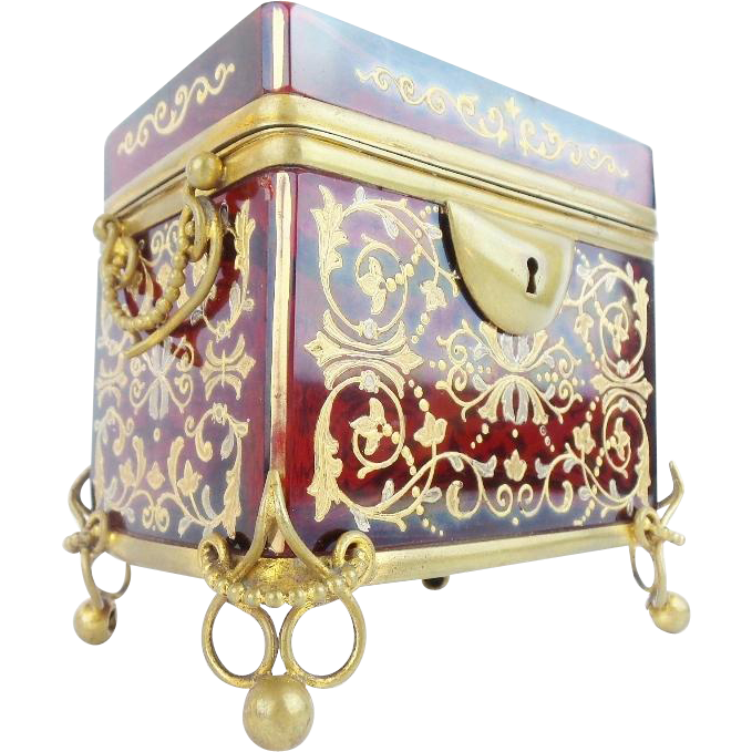 "1880 Moser Red  Sugar Casket  with Double Handles ""GLORIOUS RED"""