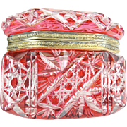 "Antique Bohemian Red Cut to Clear Box Casket  ""RARE & BEAUTIFUL OVAL SHAPE"""