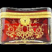 "BIG Antique Bohemian RUBY Casket Hinged Box ""RARE SHAPE & DEEP RICH RUBY"""