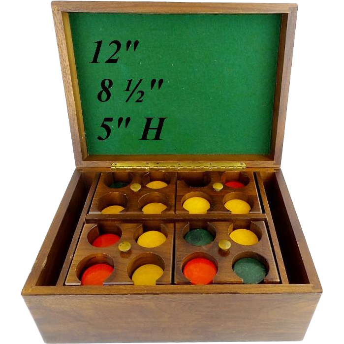 "12"" Antique GAME Box  ""FOUR TRAYS GAMING CHIPS"""