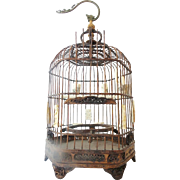 """RARE Antique Chinese Ornate Bird Cage 'CARVED BONE FEEDERS"""""""