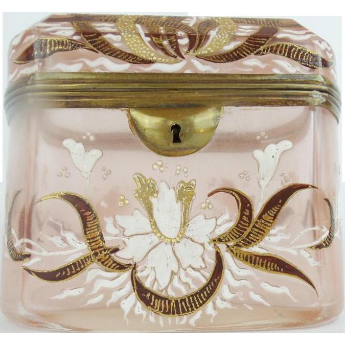 "Antique Bohemian Casket Hinged Box "" PINK W  BURGUNDY RIBBONS"""