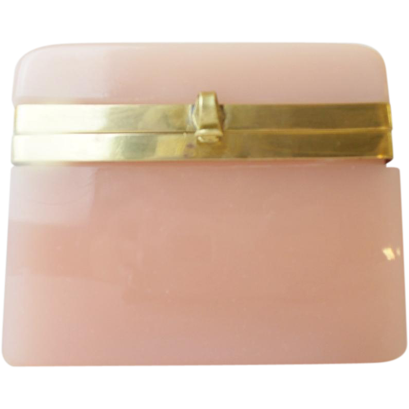 "Antique Pink Opaline Casket Hinged Box ""BIG PINK OPALINE"""