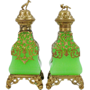 "LAYAWAY          7"" Palais Royal Green Opaline Scent Bottles "" Grandest DOG Finials"""