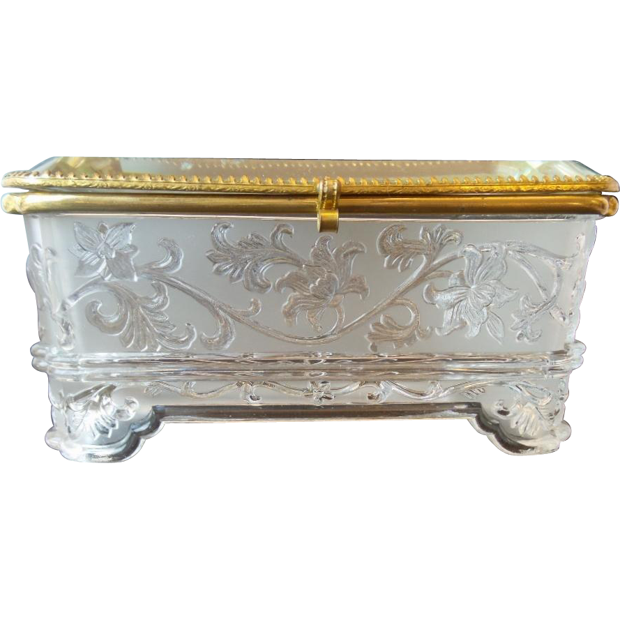 "Antique French Crystal Casket Hinged Box ""BIG & EXQUISITE"""