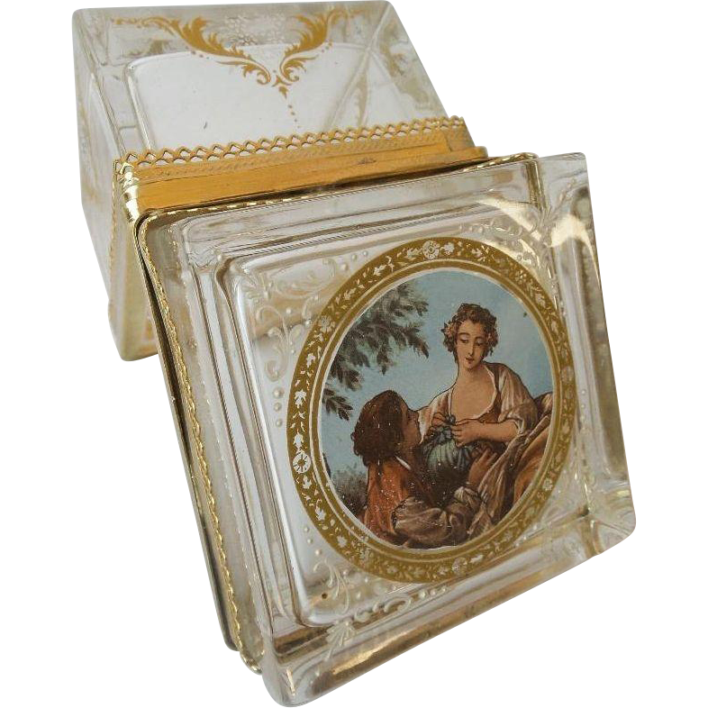 "Antique Crystal Hinged Box "" LOVELY PASTORAL SCENE & STUNNING LACE MOUNTS"""